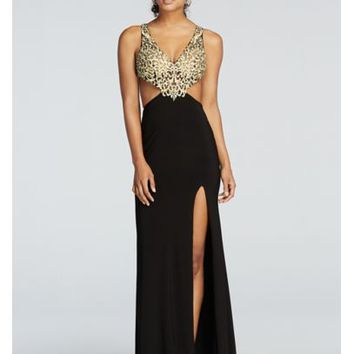 Beaded Cut Out Prom Dress with Side Slit Skirt - Davids Bridal