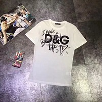 """Dolce & Gabbana"" Women Fashion All-match Love Heart Graffiti Letter Print Short Sleeve T-shirt Top Tee"