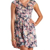 Open Back Floral Print Lace Dress by Charlotte Russe - Navy Combo