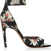 Givenchy - Shark Lock sandals in magnolia-print leather
