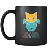 Veterinary Save the injured, love the abandoned, rescue the mistreated 11oz Black Mug