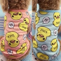 Cute Pet Dog Clothes Duck Printed Spring