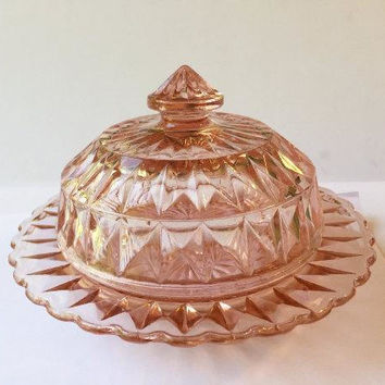 Pink Depression Glass Butter Dish, Jeannette Windsor Diamond Pink Butter Dish with Lid