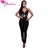 Dear-Lover Summer 2017 Hot Sexy Night Party Rompers Black Jeweled Cut-out Bodycon Jumpsuit Long Pants Overalls for Women LC64210