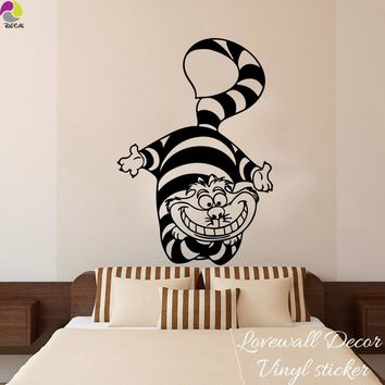 Alice In Wonderland Cat Wall Sticker Baby Nursery Kids Room Cartoon Cheshire  Cat Anime animal Wall Decal Bedroom Vinyl Decor