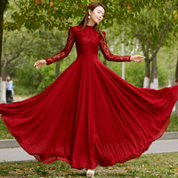 Long Sleeve Wine Red Party Maxi Dress