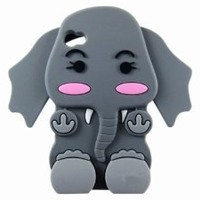 Generic Cute 3D Cartoon Elephant Silicone Case Cover Skin for iPhone 4 4S Gray
