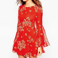ASOS PETITE Fluted Sleeve Dress with V-Back in Red