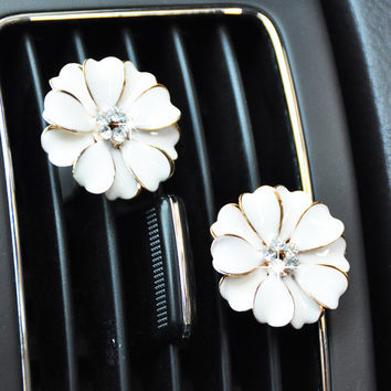 2pcs Crystal Flower Handmade Car vent clip, car air freshener, car interior, car accessory, car Decorations