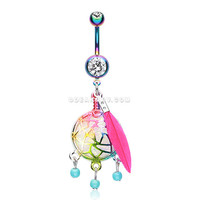 Colorline Opal Sparkle Dreamcatcher Belly Button Ring (Rainbow/Clear)