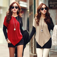 New Women Loose Oversize Blouse Tops Batwing Sleeve Long Casual Patchwork T-Shirt Stylish = 1946240452