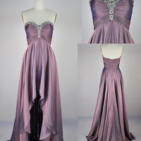 Strapless Beading Prom / Evening / Party Dress-Sweetheart Neckline-High Low Dress-Custom Made