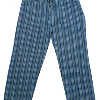 Bohemian Gypsy Chic Teal Blue Washed Unisex Yoga Pant Cotton Stripes Print Loose Trouser With Elastic Waistband Pants With Pockets