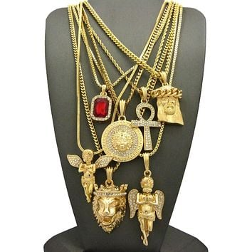 Hip Hop Ruby, 2 Angels, Jesus, Lion, Medusa, Ankh Pendant 7 Necklace Set GB112G