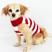 Custom Red and White Candy Cane Striped Knit Pet Sweater.