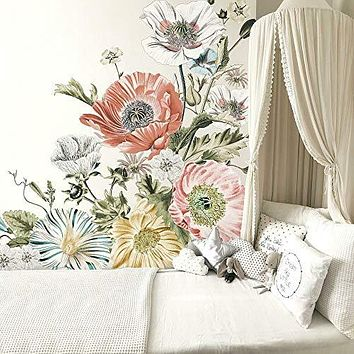 RoomMates RMK4641TBM Vintage Poppy Floral XL Giant Peel and Stick Wall Decals