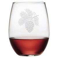 Pinecone Stemless Wineglasses, Set of 4, Acrylic / Lucite, Wine Glasses