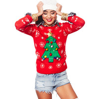 Sparkling Christmas Tree Sweater | Wet Seal