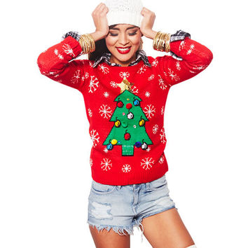Sparkling Christmas Tree Sweater   Wet Seal