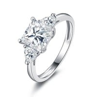 Grace 1.6CT Three Stone IOBI Simulated Diamond Sterling Silver Platinum Plated Ring For Woman