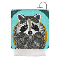"Art Love Passion ""Racoon in Grass"" Gray Teal Shower Curtain"