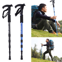 High Quality T-handle Walking Stick Adjustable Outdoor Hiking Canes Ultra-light Trekking Poles 4-section Alpenstock Camping Gear