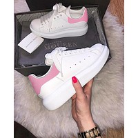 Alwayn ALEXANDER MCQUEEN Tide brand women's new products thickening in the thick white shoes(Velvet tail) Pink