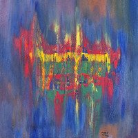 Abstract Painting Blue Red Yellow Green Original Painting Canvas Art Abstract Modern Art Painting