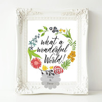 What a wonderful world quote printable wall art poster print typography art decor wanderlust art quote wall poster art calligraphy art