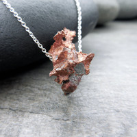 Copper Pendant, Yin Yang Necklace, Earthy Jewelry, Organic Style, Rough Raw Natural, Verdigris Patina, Subtle Statement, Contemporary Zen