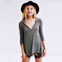 Solid V-Neck Hooded Flounce Long Sleeves Knit Top