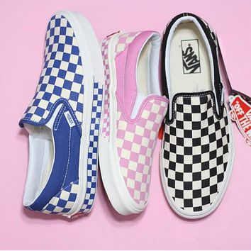 Vans Slip-On Trending Women Men Stylish Old Skool Checkerboard Canvas Sneakers Sport Shoes(4-Color) I-A36H-MY