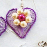 Large Purple Heart Earrings With A Large Off White Flower And A Deep Pink Centre 4cm Drop Makes An Ideal Xmas And Birthday Gift