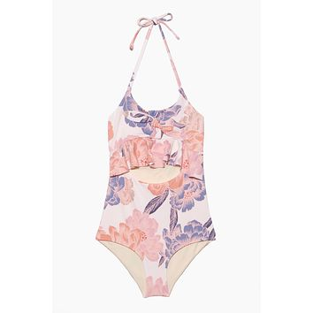 Delaney Ruffle Cut Out One Piece Swimsuit (Kids) - Ivory White Floral Print