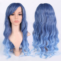 Long Ombre Inclined Bang Wavy Shaggy Anime Wigs