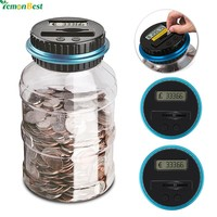 Digital Coin Counter Electronic Saving Box Jar Coins Storage Box For USD EURO GBP Money
