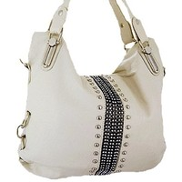 Rhinestone Studded Hobo Bag Decorative Purse Cream