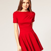ASOS | ASOS Tailored Ponti Fit And Flare Dress With Short Sleeves at ASOS