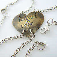 Partners in Crime, Set of TWO,  Personalized Heart Bracelets Set, Puzzle Pieces