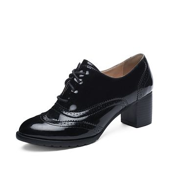 Lady Lace Up Oxford Shoes Middle Heels for Woman