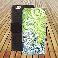 iphone 5 5s case Green sea flowers colorful iphone 4/4s iPhone 6 6 Plus iphone 5C Wallet Case,iPhone 5 Case,Cover,Cases colorful pattern L223