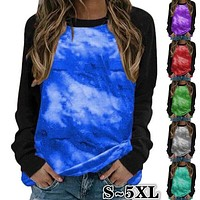 fhotwinter19 Hot tie-dye starry sky color matching long-sleeved shirt T-shirt