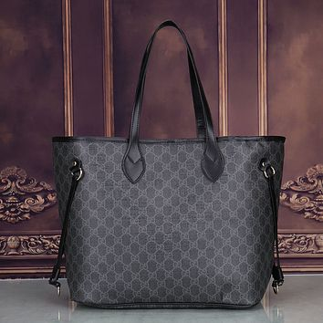 Gucci Women Leather Shoulder Bag Satchel Tote Handbag Crossbody Two Piece Set