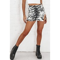 MOTEL Pelmet Mini Skirt In Tiger Silver