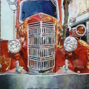 Water Color : Red fire truck watercolor print. Fire truck painting. Fire truck wall art. Fire truck picture. Watercolor art. Car painting.