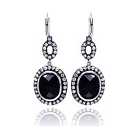 Sterling Silver Black Round Dangling Earrings