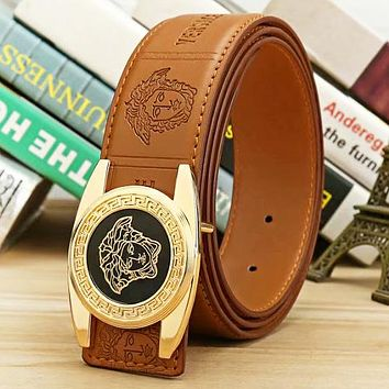 Versace New fashion human head buckle human head letter leather couple belt Brown