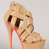 Dollhouse Conquest Strappy Open Toe Platform Wedge