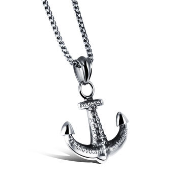 Man's anchor shaped cross titanium steel necklace