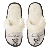 Just Married Fuzzy Slippers for Bride